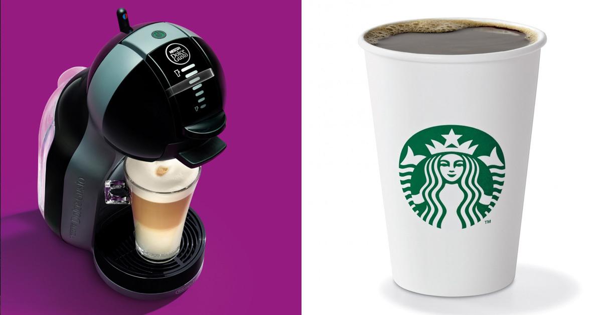 네슬레 커피브랜드 네스카페 돌체구스토(왼쪽)과 스타벅스 커피(오른쪽) [일간스포츠, 스타벅스]