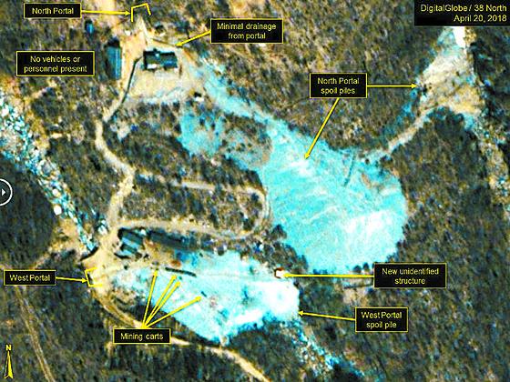 38노스가 공개한 풍계리 핵실험장의 지난달 20일 위성사진. 북한이 북·미 정상회담 전 핵실험장 폐쇄를 공언한 가운데 미국은 PVID 원칙을 적용한 핵실험장 영구 불능화를 검토 중이다. [뉴스1]