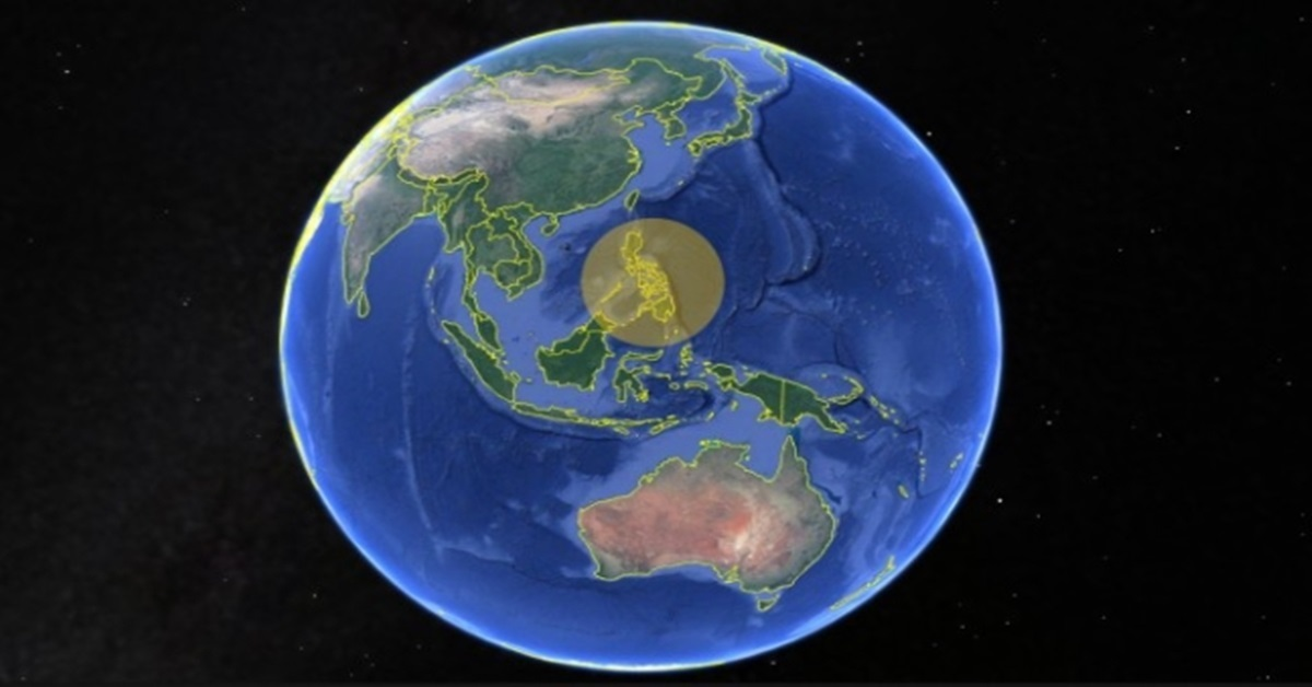 The research team estimated which path the early humans took to arrive at the Philippines 700,000 years ago. Photo shows the present shape of the Philippines. Photo from Google maps