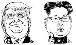 도널드 트럼프 미국 대통령(왼쪽)과 김정은 북한 국무위원장.