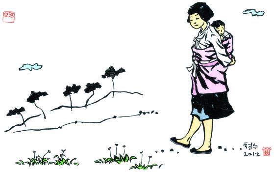 1990년 TV 주말드라마로 방영될 만큼 인기를 모은 장편 소년소설 『몽실 언니』의 삽화. 권정생이 아끼던 이철수 목판화가의 작품이다. [사진 창비]