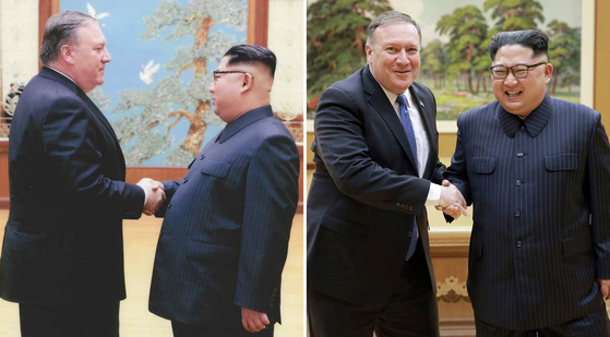 마이크 폼페이오 미국 국무부 장관과 김정은 북한 국무위원장이 악수를 하고 있다. 폼페이오 장관은 CIA 국장이자 대통령 특사 자격으로 지난 부활절 주말(3월31일~4월1일) 북한을 방문했다(왼쪽 사진). 폼페이오 장관이 지난 9일 평양에서 김정은 국무위원장 두번째 만남을 갖고 악수하며 웃고 있다.[사진 백악관, 조선중앙통신=연합뉴스]