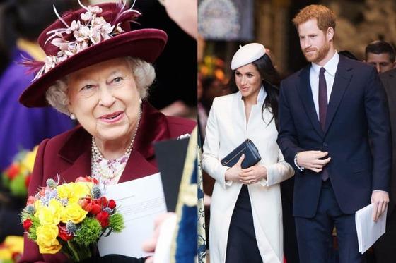 5000억원대 자산가인 영국 엘리자베스 여왕(왼쪽)과 일주일 뒤 부부가 될 해리 왕자와 마클 커플.