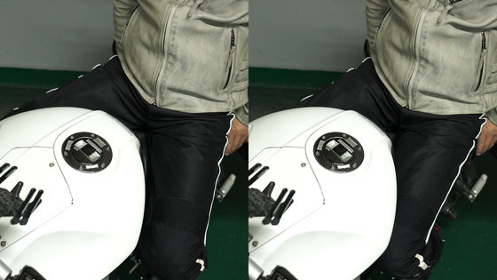 니그립은 무릎으로 연료탱크를 조여주는 것이다. 모터사이클을 적극적으로 조종하는 방법의 첫 번째 관문이 바로 이 니그립이다. 주행 안정성이 높아지는 것을 알 수 있을 것이다. [사진 현종화]