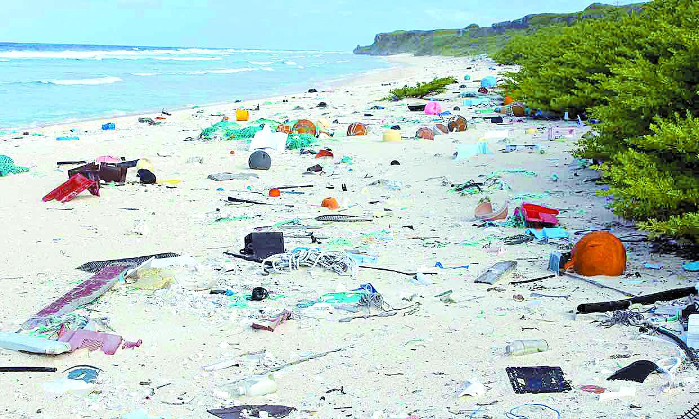 플라스틱 쓰레기로 오염된 천혜의 산호섬 헨더슨 섬. [사진 제니퍼 샌더슨]