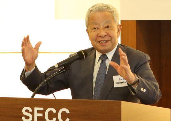 사카키바라 에이스케 교수가 15일 서울 프레스센터에서 '새로운 아시아 경제 지평'을 주제로 강연을 하고 있다. [사진 세계경제연구원]