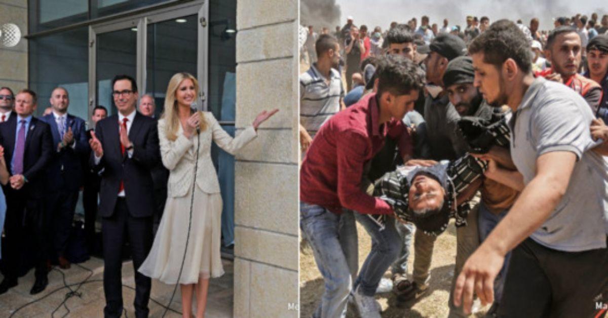 지난 14일 분쟁지역 예루살렘에서는 이스라엘 주재 미국 대사관의 개관식이 열렸다. 이날 개관식에는 트럼프 대통령을 대신해 딸 이방카 트럼프와 사위 쿠슈너가 참석해 기쁨을 나눴다. 같은 시간, 이스라엘군은 미 대사관 이전에 항의하는 팔레스타인 시위대에 실탄을 사용했다. 이로인해 현재(16일)까지 최소 60명이 숨지고 2700여명이 부상을 당한 대참사가 빚어졌다. [사진 AFP통신 패트릭 갤리(Patrick Galey) 트위터 갈무리]