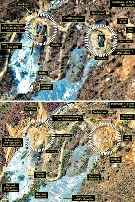북한이 23~25일 폐기하겠다고 예고한 풍계리 핵실험장이 폐기 준비 작업에 착수한 것으로 보인다고 북한 전문 매체 38노스가 14일 밝혔다. 지난달 20일 촬영된 왼쪽 사진에 있던 이동식 건물들(원 안)이 7일 촬영된 오른쪽 사진에는 보이지 않는다. [연합뉴스]