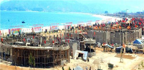 북한 신문이 14일 공개한 원산갈마해안관광지구 건설현장 모습 [연합뉴스]