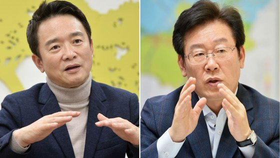 경기지사 선거에 출마하는 이재명(오른쪽) 더불어민주당 후보와 남경필 자유한국당 후보 [뉴스1]