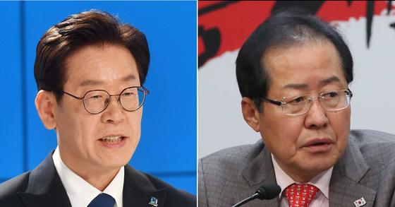 이재명 더불어민주당 경기도지사 후보(왼쪽)와 홍준표 자유한국당 대표(오른쪽) [중앙포토]