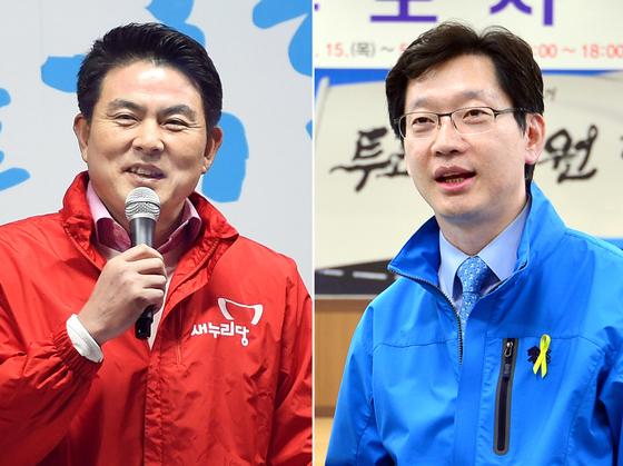 경남지사 선거에서 맞붙는 자유한국당 김태호 후보(왼쪽)과 더불어민주당 김경수 후보. [뉴시스]