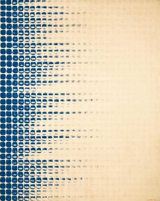 이우환 , , Oil and mineral pigment on canvas, 161.5x129.5cm, 1976. [사진 서울옥션]