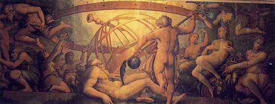 조르지오 바사리(Giorgio Vasari), 아버지 우라노스를 거세하는 크로노스. [출처 나무위키]