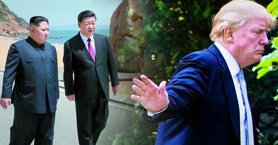 도널드 트럼프(오른쪽) 미국 대통령이 17일(현지시간) 북한의 태도변화에 '시진핑 배후론'을 언급했다. [APㆍAFP=연합뉴스]