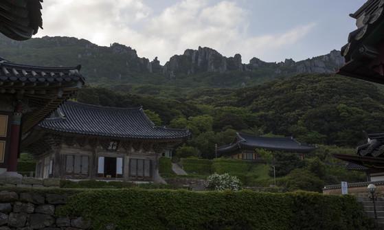 천년고찰 미황사 뒤편으로 우뚝 솟아있는 달마산 암봉.