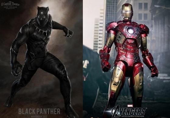 마블 히어로인 블랙팬서와 아이언맨. 영화에서 블랙팬서는 와칸다 왕국의 국왕인 티찰라가, 아이언맨은 스타크 인더스트리 기업의 오너인 토니 스타크가 주인공이다. [마블]
