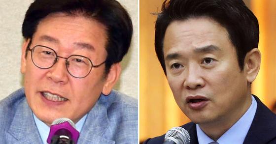 이재명 더불어민주당 경남지사 후보(左)와 남경필 자유한국당 후보(右). [중앙포토]