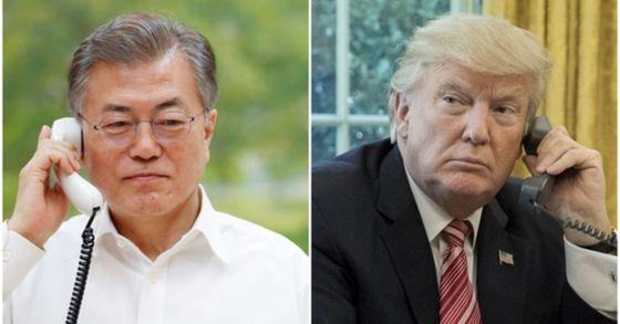 문재인 대통령과 트럼프 대통령이 20일 오전 11시 30분부터 55분까지 25분간 전화통화를 가졌다. [연합뉴스]