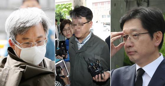 왼쪽부터 드루킹, 김경수 경남지사 후보의 의원 시절 보좌관 한모씨, 김 후보 [뉴스1ㆍ연합뉴스]