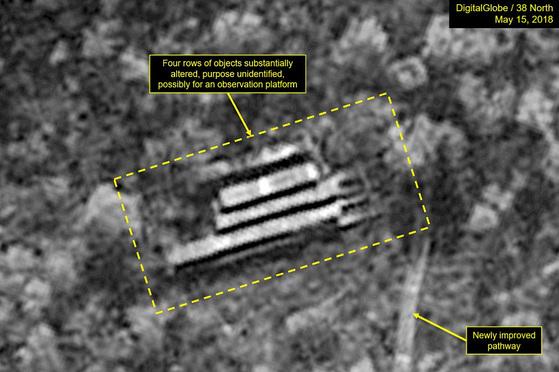 지난 15일 북한 풍계리 핵실험장의 위성사진.[사진 38노스 캡처]