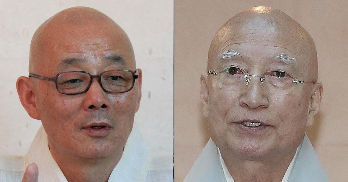 전 봉은사 주지인 명진 스님(왼쪽)과 현 조계종 총무원장 설정 스님(오른쪽) 우상조 기자