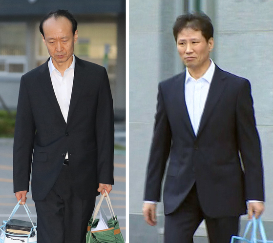 이재만(왼쪽) 안봉근(오른쪽) 전 청와대 비서관. 두 사람은 지난 18일 구속기간 만료를 하루 앞두고 석방됐다. [연합뉴스]