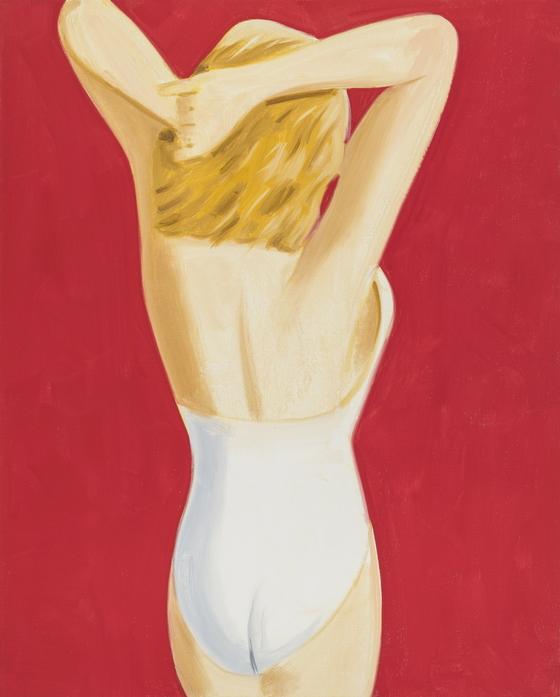 미국 화가 알렉스 카츠는 추상과 구상, 광고와 회화의 경계를 넘나들며 작업한다. 지난해 90세가 된 카츠가 캘빈 클라인 속옷 광고 사진에서 영감을 얻어 작업한 대형 초상화 'Coca-Cola Girl 3'. [사진 롯데뮤지엄]