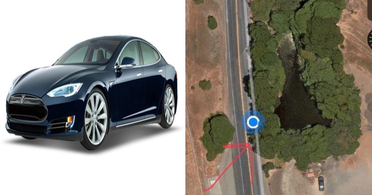 테슬라 모델S차량(왼쪽)과 미국 캘리포니아주에서 일어난 테슬라 모델S차량 사고 현장 [중앙포토, 앨러미다 카운티 보안관실 트위터 캡처]