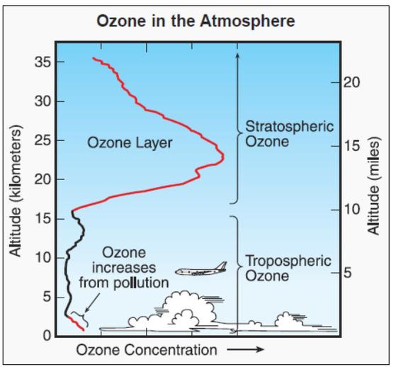 오존층(Ozone layer) 분포 곡선. 세로축은 고도(km)를, 붉은색과 검은색 선은 오존농도를 나타낸다. 대류권(troposphere)보다는 성층권(stratosphere)에서 오존 농도가 높다. 지표면 근처에는 다시 대기오염으로 인해 오존 농도가 상승하기도 한다. [중앙포토]