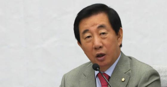 자유한국당 김성태 원내대표가 23일 오전 국회에서 열린 원내대책회의에서 발언하고 있다. [연합뉴스]