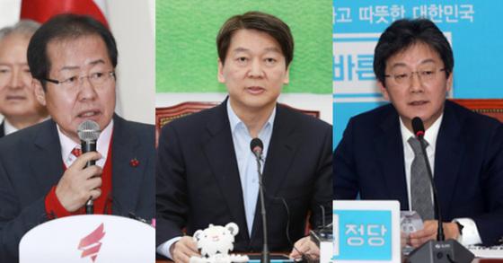 왼쪽부터 홍준표 자유한국당 대표, 안철수 바른미래당 서울시장 후보, 유승민 바른미래당 공동대표.