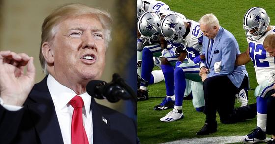 NFL 구단 댈러스 카우보이스 선수들과 구단주가 무릎을 꿇고 있는 모습(오른쪽) [AP=연합뉴스]