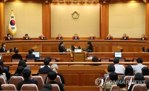 헌법재판소 대심판정에서 24일 낙태죄 위헌 여부를 두고 공개변론이 열렸다. [연합뉴스]