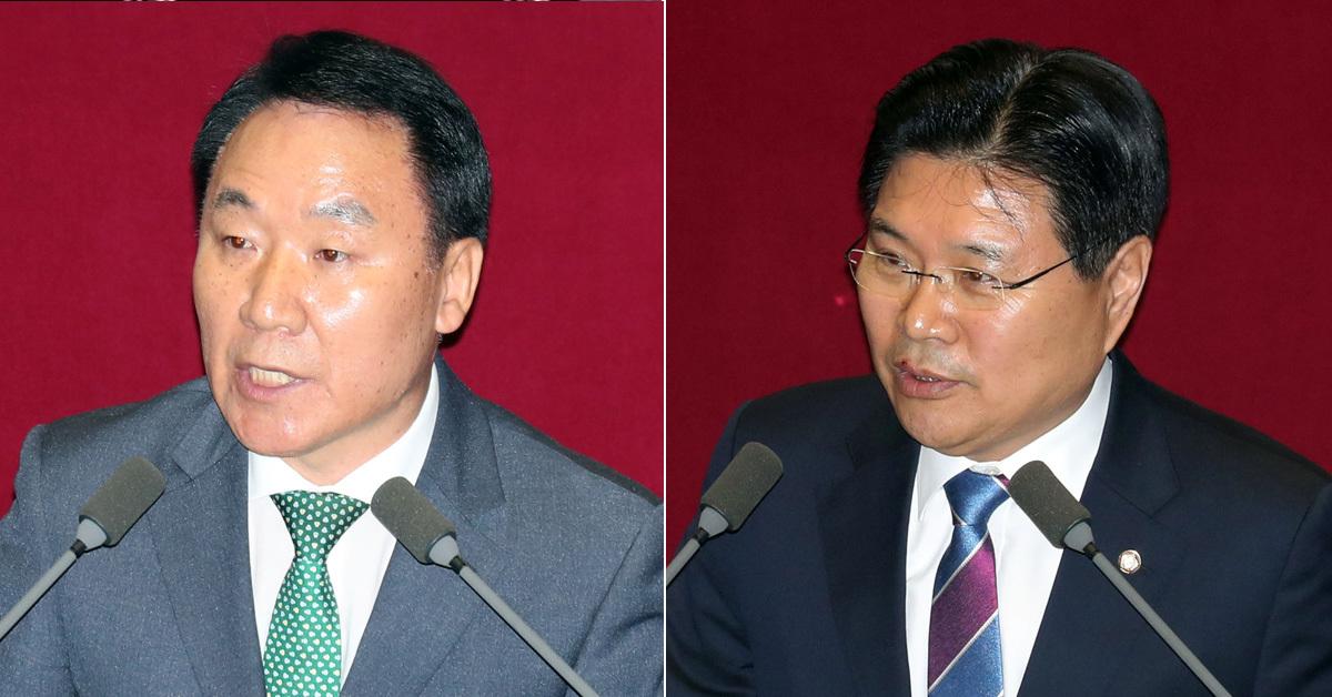 자유한국당 염동열(왼쪽)의원·홍문종 의원. 강정현 기자