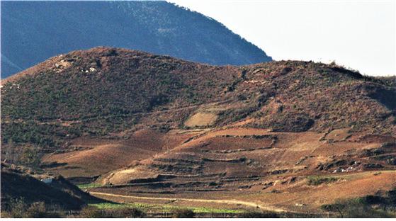 비무장지대 남쪽에서 바라본 북한 개성시 주변 산지 모습. 다락밭 개간 등으로 황폐해졌다. [사진 녹색연합]