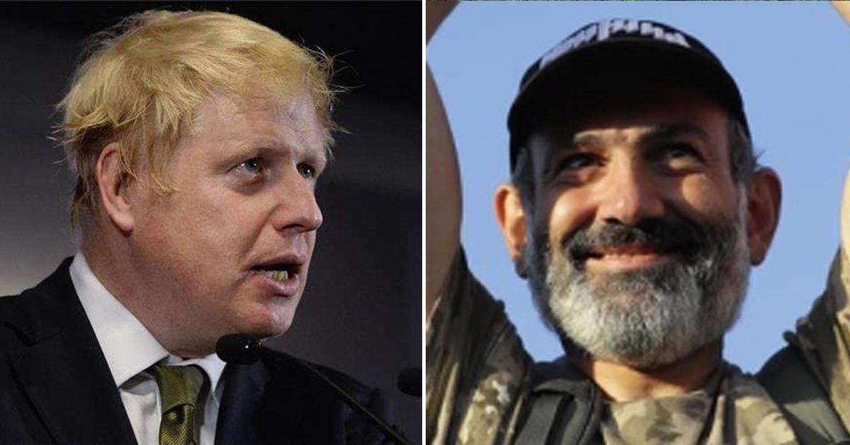 보리스 존슨 영국 외무장관 (왼쪽)과 니콜 파시냔 아르메니아 신임 총리 [AP=연합뉴스]