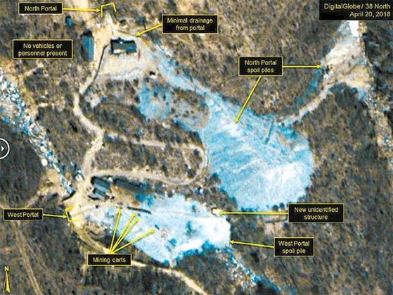 38노스가 공개한 풍계리 핵실험장 위성사진. 북한은 북·미 정상회담 전에 핵실험장 폐쇄를 공언했다. [ 사진캡처·38노스]