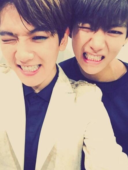 BAEKHYUN(Left) and V. Twitter @BTS_twt