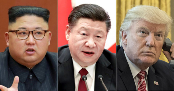 (왼쪽부터) 김정은 북한 국무위원장, 시진핑 중국 국가주석, 도널드 트럼프 미국 대통령 [연합뉴스]