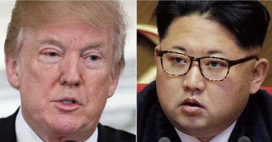 오는 6월 12일 싱가포르에서 만날 예정인 도널드 트럼프 미국 대통령과 김정은 북한 국무위원장. [연합뉴스]