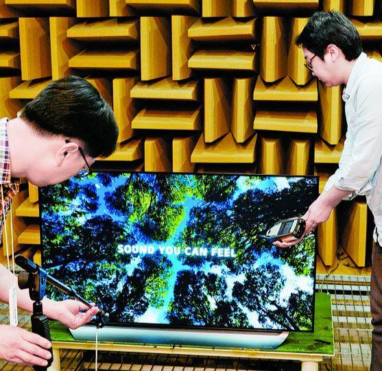 경기도 평택시 'LG 디지털 파크'의 HE사업본부에 설치된 무향실은 쐐기 모양의 스폰지인 흡음제(90㎝)가 방 전체를 둘러싸고 있다. 무향실에서 음질 테스트를 하고 있는 LG전자 연구원들. [사진 LG전자]