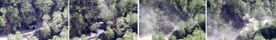 24일 북한 핵무기연구소 관계자들이 함경북도 길주군 풍계리 핵실험장 폐쇄를 위한 폭파 작업을 했다. 3번 갱도 폭파 과정. [사진공동취재단]
