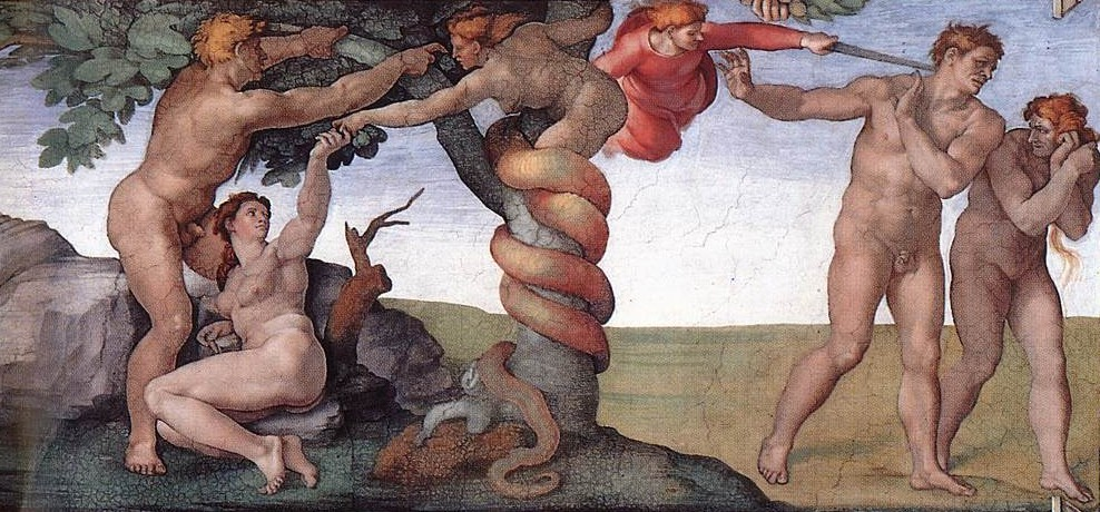 기독교 성경 창세기에 등장하는 뱀. 금지된 선악과를 따먹게 이브를 유혹해서 결국 에덴동산에서 쫓겨나게 만든다. 그림은 로마 바티칸의 시스티나 성당 천정에 그려진 미켈란젤로의 천지창조 일부분이다.[중앙포토]