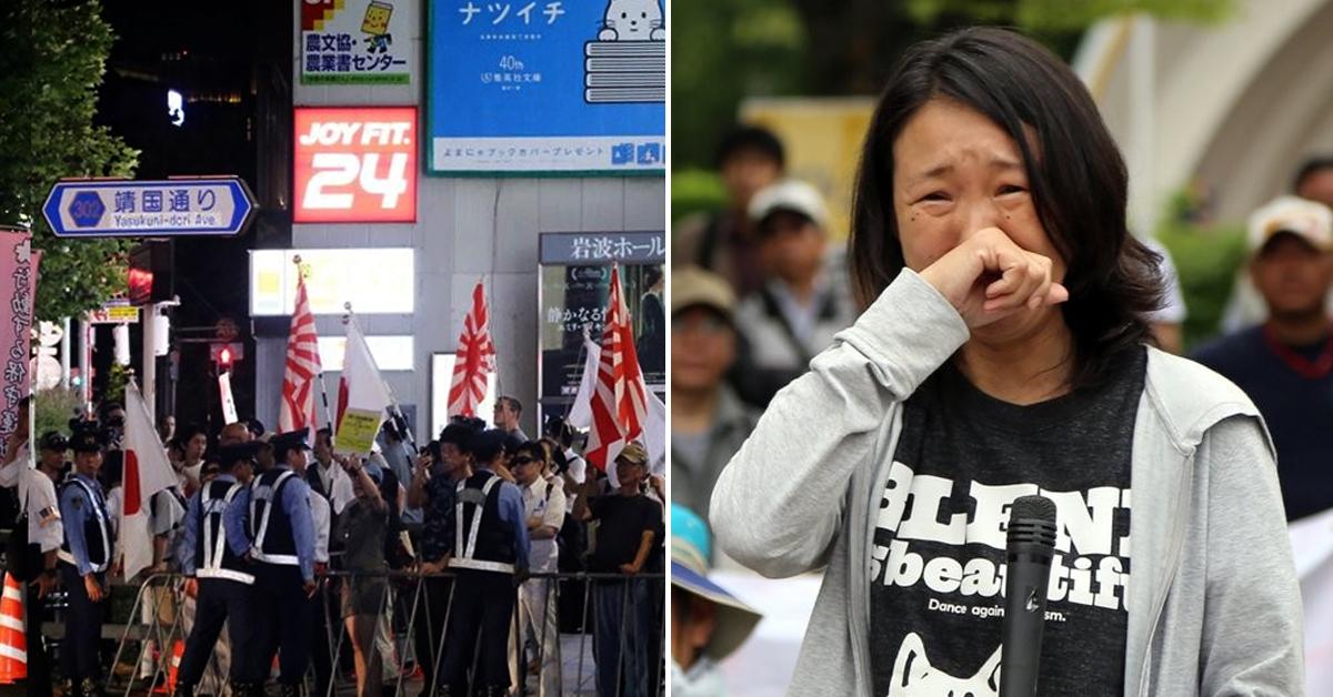 왼쪽 사진은 지난해 8월 12일 한국과 일본 시민단체 회원들이 도쿄(東京) 지요다(千代田)구 일대 야스쿠니(靖國) 신사 앞에서 촛불 행진을 벌이는 가운데 일본 우익 단체 회원들이 전범기인 욱일기(旭日旗)를 들고 욕설을 퍼부으며 집회를 방해하고 있는 모습. 오른쪽 사진은 재일교포 3세인 최강이자씨가 2017년 6월 혐한시위에서 항의발언하는 모습. [연합뉴스]