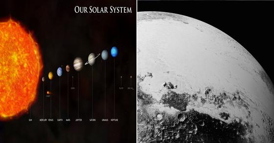 태양계(왼쪽) 이미지와 2015년 뉴호라이즌스호가 찍어 보낸 명왕성의 표면 사진.[NASA]