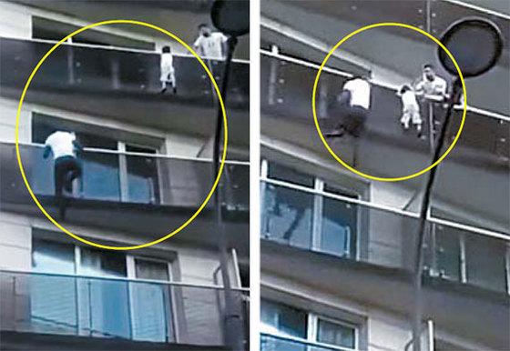 프랑스 파리 아파트 5층 발코니에 매달린 네 살 아이를 구하기 위해 맨손으로 발코니를 오르고 있는 마무두 가사마의 모습. [유튜브 캡처]