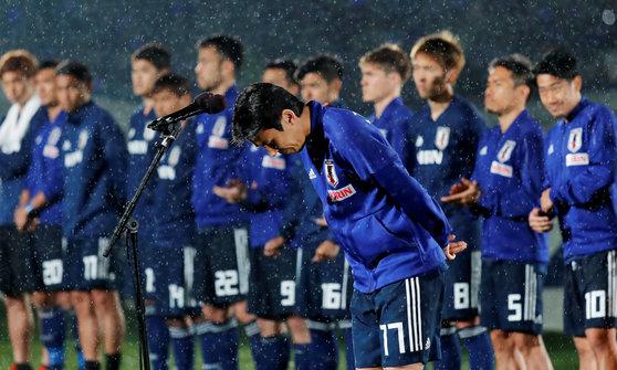 30일 일본 요코하마 닛산 스타디움에서 출정식을 가진 일본 축구대표팀. [로이터=연합뉴스]