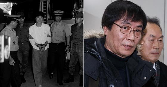 1991년 구속기소돼 재판을 받을 당시의 강기훈씨(왼쪽). 오른쪽 사진은 2014년 모습 [중앙포토]