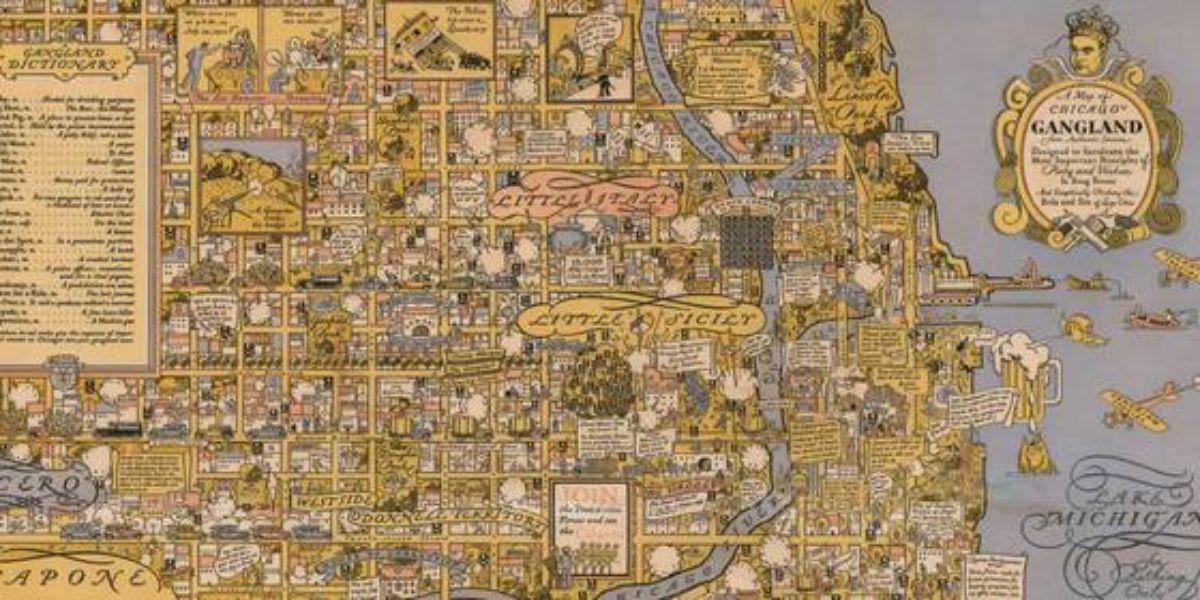 내달 열리는 영국 런던 '지도 박람회'에 등장할 20세기 제작된 미국 시카고 갱단 지도. 상단 우측에는 '왕관을 쓴 알 카포네'의 모습이 새겨있다. [사진 대니얼 크라우치의 희귀 서적'(Daniel Crouch Rare Books)]